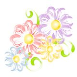 Spring Flowers In Pen Brush Clip Art Stock Photography
