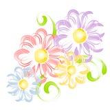 Spring Flowers In Pen Brush Clip Art vector illustration
