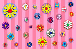 Spring Flowers Pink. Flowers scattered on a plaid  back round Stock Images