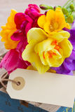 Spring flowers posy with blank tag Royalty Free Stock Photos