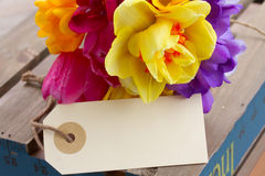 Spring flowers posy with blank tag Royalty Free Stock Photography