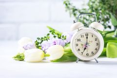 Spring flowers and retro Alarm Clock. stock photography