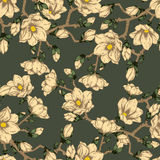 Spring flowers. Seamless  background. Vintage illustration.  Blooming tree. Royalty Free Stock Photo