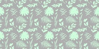 Spring flowers seamless blue botanical pattern. Fresh spring watercolor floral seamless pattern for wedding cards, seamless pattern background of websites and Royalty Free Stock Images