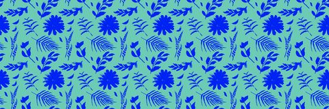 Spring flowers seamless blue botanical pattern. Fresh spring watercolor floral seamless pattern for wedding cards, seamless pattern background of websites and Royalty Free Stock Image