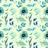 Spring flowers seamless blue botanical pattern. Fresh spring watercolor floral seamless pattern for wedding cards, seamless pattern background of websites and Stock Photo
