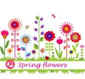 Spring flowers. Seamless border Stock Photo