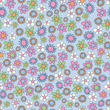 Spring flowers seamless pattern. Clear stylized multicoloured spring flowers vector seamless pattern Royalty Free Stock Photos