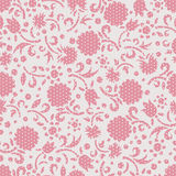 Spring flowers seamless pattern. Hand drawn cartoon spring flowers seamless pattern in light pink and grey. Endless polka dot background Royalty Free Stock Image