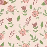 Spring flowers seamless pattern. Hand drawn vector. Spring flower seamless pattern. Hand drawn vector Royalty Free Stock Images