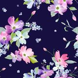 Spring Flowers Seamless Pattern. Watercolor Floral Background for Wedding Invitation, Fabric, Wallpaper, Textile. Botanical Hand Drawn Texture. Vector stock illustration