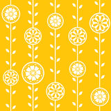 Spring flowers seamless wallpaper. Seamless  wallpaper with funky yellow flower pattern Royalty Free Stock Photo