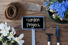 Spring Flowers, Sign, Text Garden Project Stock Photo