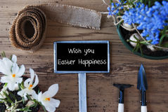 Spring Flowers, Sign, Text Wish You Easter Happiness. Sign With English Text Wish You Easter Happiness. Spring Flowers Like Grape Hyacinth And Crocus. Gardening Royalty Free Stock Photos