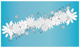 Spring Flowers in Sky. A black and white hand drawn vector illustration of different flowers over a sky blue background stock illustration