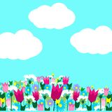 Spring flowers and sky. Spring meadow with with beautiful flowers and blue sky. Vector illustration Royalty Free Stock Images