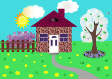 Spring, flowers, small house Royalty Free Stock Photos