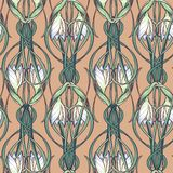 Spring flowers. Snowdrop flowers interlaced into an intricate ornament on avertical striped background. Art Nouveau. Spring flowers. Snowdrop flowers interlaced Royalty Free Stock Images
