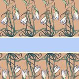 Spring flowers. Snowdrop flowers interlaced into an intricate ornament on avertical striped background. Art Nouveau. Spring flowers. Snowdrop flowers interlaced Royalty Free Stock Image
