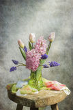 Spring flowers. Still life. Coated colored texture royalty free stock photo