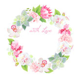 Spring flowers and succulents vector design round frame Stock Image