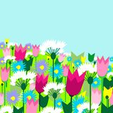 Spring flowers. Spring sunny landscape in bright colors. Vector illustration Stock Image