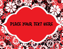 Red, Black Flowers With Text Frame Royalty Free Stock Photography