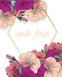 Spring flowers and text. Vector colorful background with spring flowers and text first smile on white background with diamond Royalty Free Stock Photography