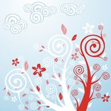 Spring Flowers & Trees. Vector illustration of stylized spring flowers and trees Stock Photography