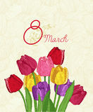 Spring flowers. Tulips. March 8 Stock Photography