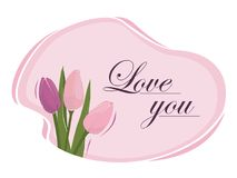 Spring flowers, tulips on a pink background, greeting card. Spring flowers, tender tulips on a pink background in a speech bubble, greeting card Stock Image