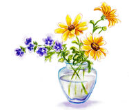 Spring flowers in vase. Watercolor illustration Royalty Free Stock Images