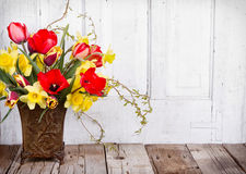 Spring flowers in a vase stock photos