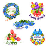 Spring flowers vector icons for holiday greeting. Hello Spring design of flowers and blooming springtime tulips, daffodils or crocuses, narcissus and lily of Royalty Free Stock Image