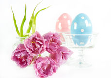 Spring flowers with vintage ceramic eggs Royalty Free Stock Images