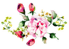 Spring flowers watercolor illustration Stock Images