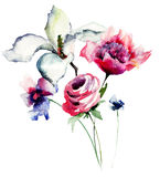 Spring flowers watercolor illustration Stock Image