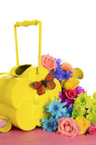 Spring Flowers and Watering Can Royalty Free Stock Images