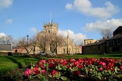 Spring flowers with Wigan Parish Church background. Stock Photos