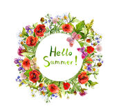 Spring flowers, wild grass, meadow butterflies. Summer floral wreath. Watercolor. Spring flowers, wild grass, meadow herbs, butterflies. Summer floral wreath Stock Image