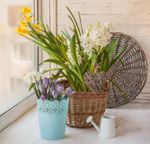 Spring flowers on the windowsill with braided heart, a romantic Stock Photos