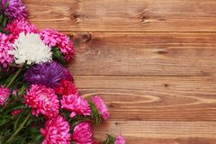 Spring flowers on wooden background Stock Photos
