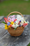 Spring flowers on wooden table Stock Photography