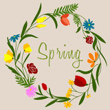 Spring flowers wreath for seasonal decoration Stock Image