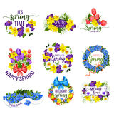 Spring flowers wreath and vector floral bouquets. Hello Spring flowers and floral bunches. Vector blooming bouquets of springtime tulips, daffodils or crocuses Royalty Free Stock Image