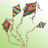 Spring flying kites Stock Photo