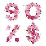 Spring font from cherry flowers figures and signs Royalty Free Stock Image