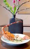 Spring food. Spring japans decorative food with big langouste Royalty Free Stock Images