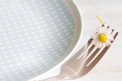 Spring food abstract background with daisy on the fork Stock Photos