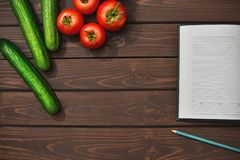 Spring Food Diet on a wooden background. Top view royalty free stock photos